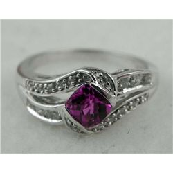 STERLING PLATINUM RING .66 RUBY & DIAMOND