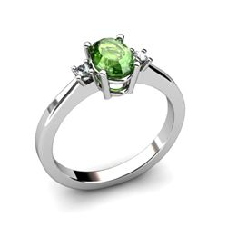 Tourmaline 0.98ctwDiamond Ring14kt White Gold