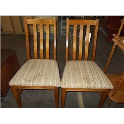 Pair Wood Slat Back Chairs