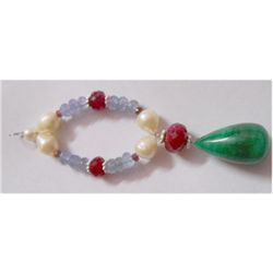 Natural 70.85ct Pearl/Tanzanite/Ruby/Emerald Bracelet .