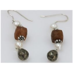 NATURAL 30.35 CTW PEARL SEMIPRECIOUS EARRINGS .925 STER