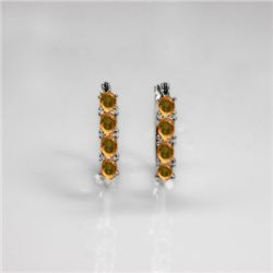 NATURAL 4.00 CTW CITRINE EARRINGS .925 STERLING SILVER