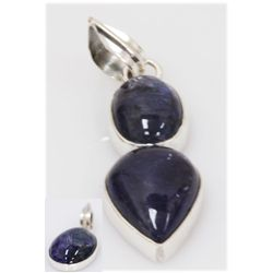 NATURAL 25.43 CTW TANZANITE PENDANT .925 STERLING SILVE