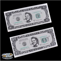 "Original production-made ""Biff Co."" currency from Back to the Future II"
