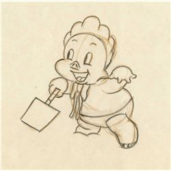 Two original production drawings from Porky's Picnic