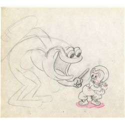 Original production drawing from Bosko and the Cannibals