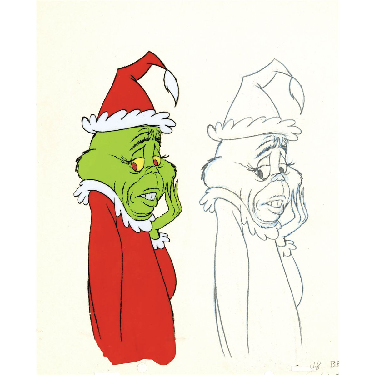 original production cel and matching drawing from how the grinch stole christmas - Who Wrote How The Grinch Stole Christmas