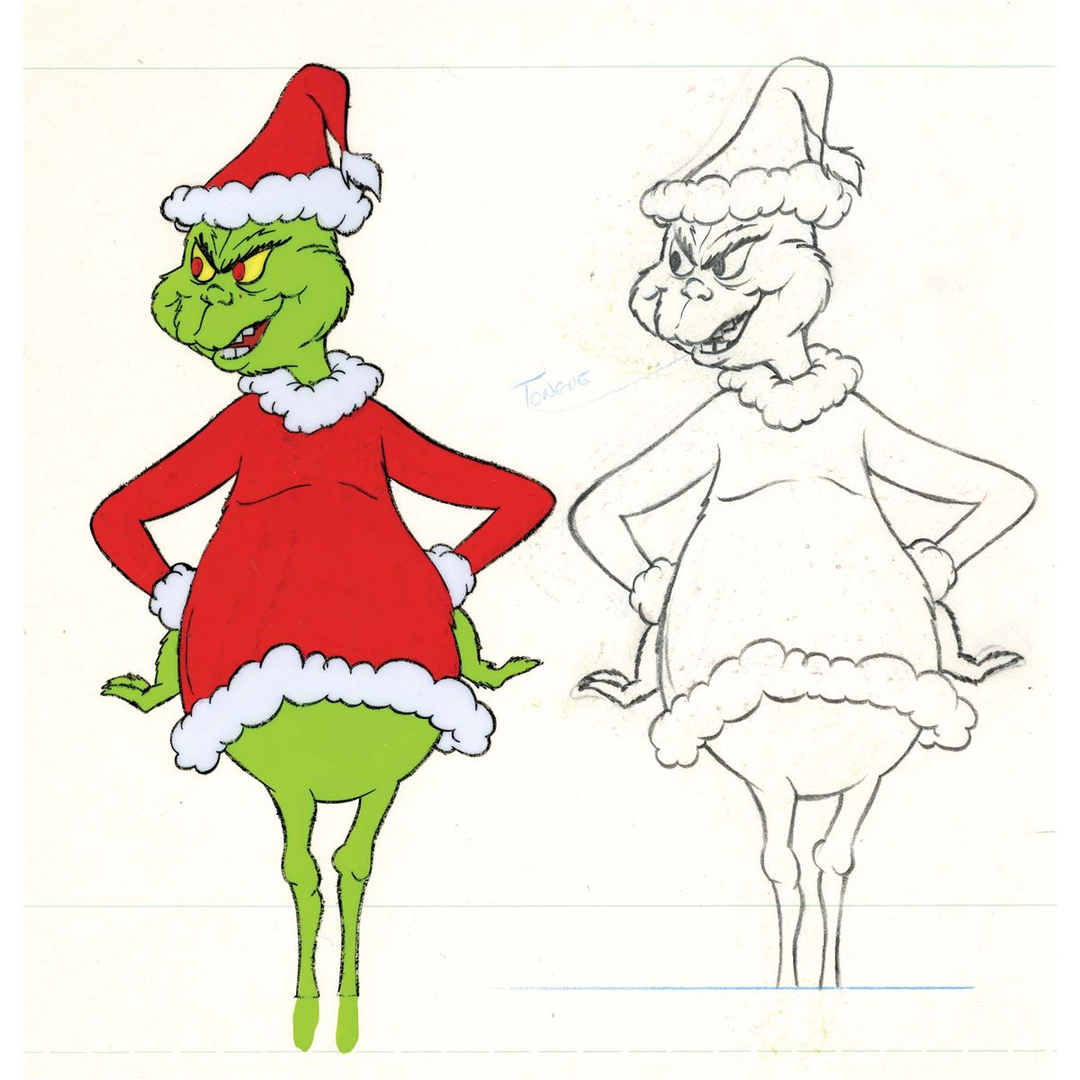 Original production cel and matching drawing from How the Grinch Stole Christmas