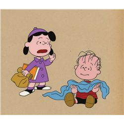 Early hand-inked production cels of Linus and Lucy