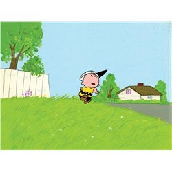 Original production cel and production background from He's Your Dog Charlie Brown