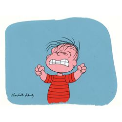 Charles Schulz signed production cel on production background