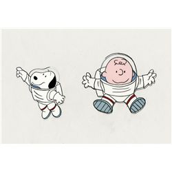 Original production cel of Charlie Brown and Snoopy from This is America, Charlie brown