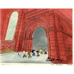 Charles Schulz signed production cel and production background from This is America, Charlie Brown