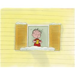 Original production cel and production background from It's Christmas Time Again, Charlie Brown!