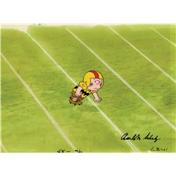 Charles Schulz signed cel and production background from You're In The Super Bowl, Charlie Brown!