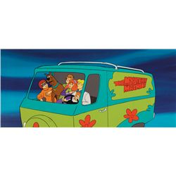 Scooby-Doo original pan production cel with original hand-painted pan production background