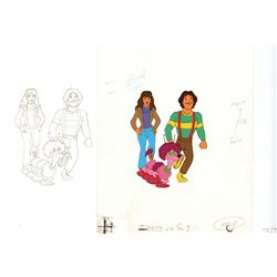 Original production cel and matching drawing of Mork, Mindy, and Doing