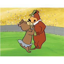Yogi and Cindy original hand-painted publicity cel with hand-painted production background