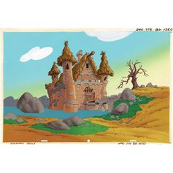 Smurfs original hand-painted production stock background of Hogatha's Castle