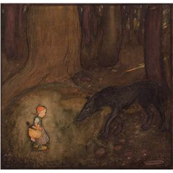 Gustaf Tenggren original painting of Little Red Riding Hood