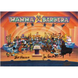 Signed 3-cel setup of 50+ characters from A Yabba Dabba Doo Celebration!: 50 Years of Hanna-Barbera
