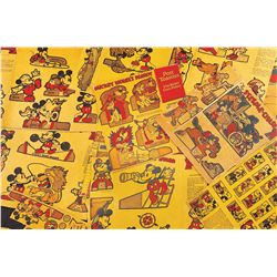 Lot of 1934 Post Toasties cereal box backs with Mickey Mouse themed cutouts