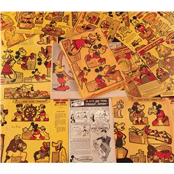 Lot of 1934 Post Toasties cereal box backs with Disney Mickey Mouse theatrical short themed cutouts