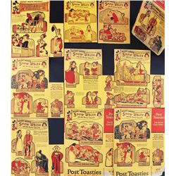 Lot of 1934 Post Toasties cereal box backs with Snow White themed cut-outs