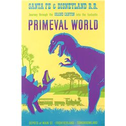 "Original hand-silkscreened poster for the Disneyland ""Primeval World"" attraction"