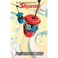 "Original 1957 hand-silkscreened poster for the Disneyland ""Skyway"" attraction"
