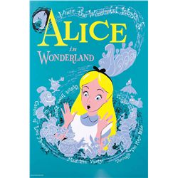 "Original hand-silkscreened poster for the Disneyland ""Alice in Wonderland"" attraction"
