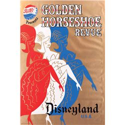"Original 1957 hand-silkscreened poster for the Disneyland ""Golden Horseshoe Revue"" attraction"