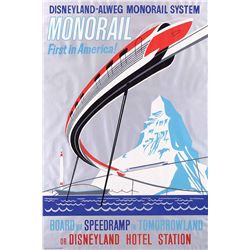 "Original hand-silkscreened poster for the Disneyland ""Monorail"" attraction"