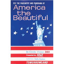 "Original hand-silkscreened poster for the ""America the Beautiful"" attraction"