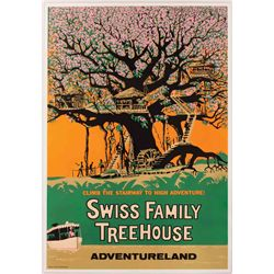"Original hand-silkscreened poster for the ""Swiss Family Treehouse"" attraction"