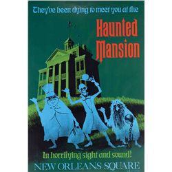 "Original hand-silkscreened poster for the ""Haunted Mansion"" attraction"