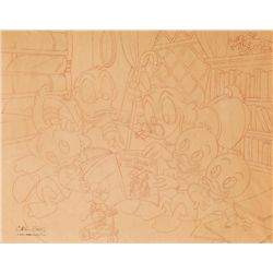 Carl Barks signed preliminary pencil sketch