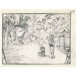 Original production storyboard drawing from Mickey's Jungle Express
