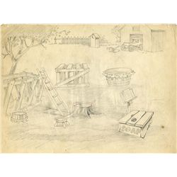 Original production background layout drawing from The Barnyard Concert