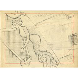 Original production background layout drawing from Frolicking Fish
