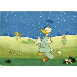 Production background from The Pied Piper with original production cel from Donald's Better Self