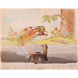 Original production cel and matching background from The Tortoise and the Hare