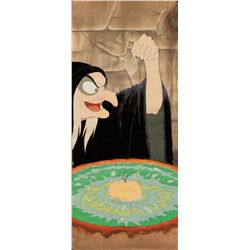 Rare vertical pan cel of the hag with matching background from Snow White and the Seven Dwarfs