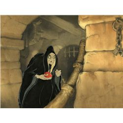 Cel with matching background of the witch with poison apple from Snow White and the Seven Dwarfs