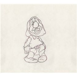 Original production drawing of Sneezy from Snow White and the Seven Dwarfs