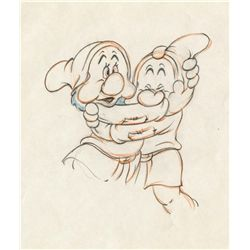 Original production drawing of Sneezy and Sleepy from Snow White and the Seven Dwarfs
