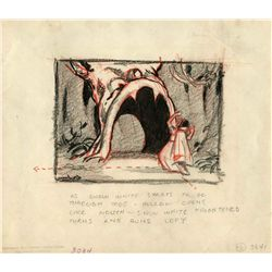 Original pencil storyboard panel from Snow White and the Seven Dwarfs