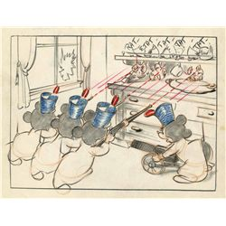 Original production storyboard drawing featuring Mickey's Nephews