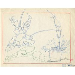 Original production layout drawing from Mother Goose Goes Hollywood