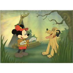 Original production cel of Mickey Mouse and Pluto from The Pointer
